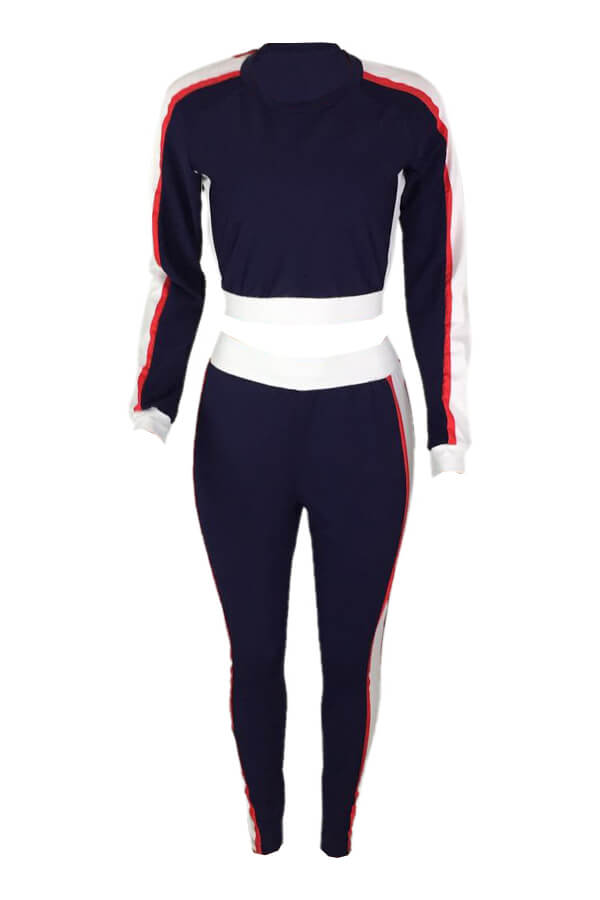 Lovely Leisure Round Neck Patchwork Navy Blue Polyester Two-piece Pants Set
