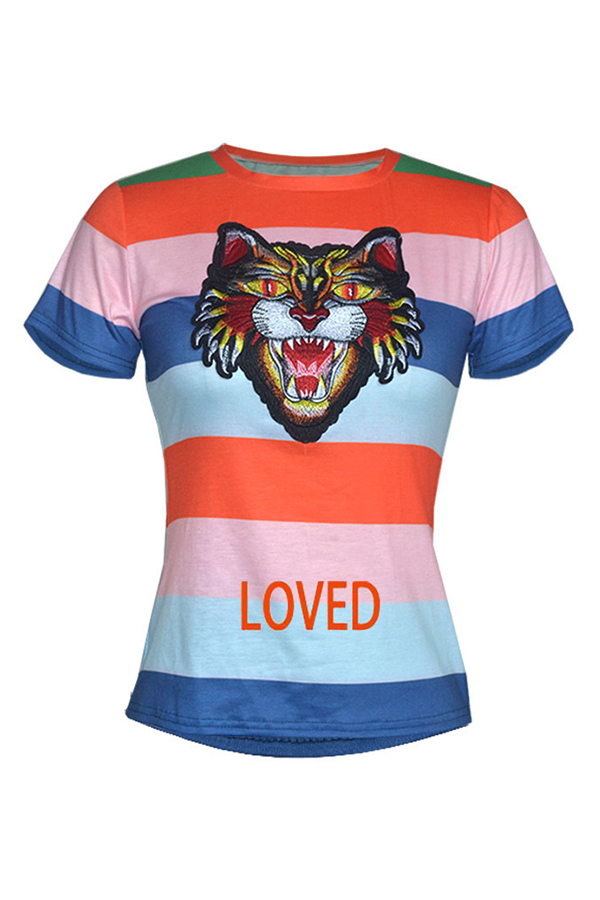 LovelyLeisure Round Neck Tiger Printed Colorful Striped Blue Cotton Blends T-shirt