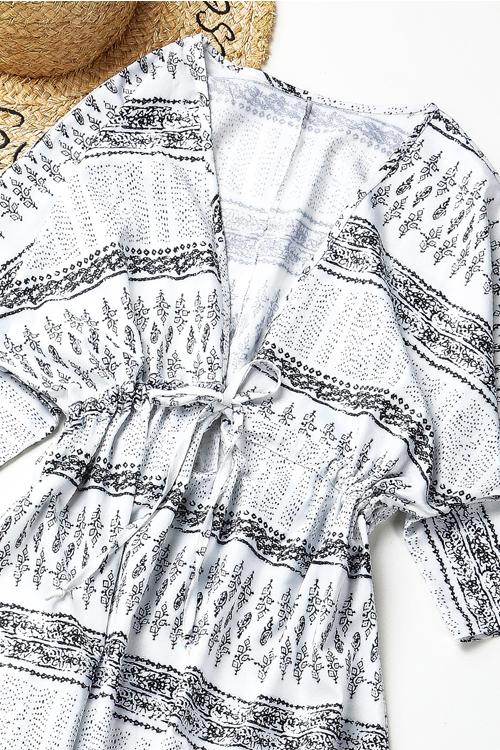 Lovely Bohemian V Neck Non Positioning Printing White Polyester Ankle Length Dress