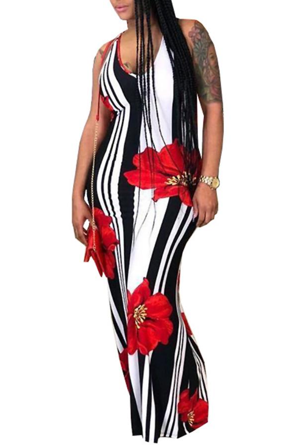 LovelyCasual U Neck Striped+Floral Printed Red Blending Floor Length Dress