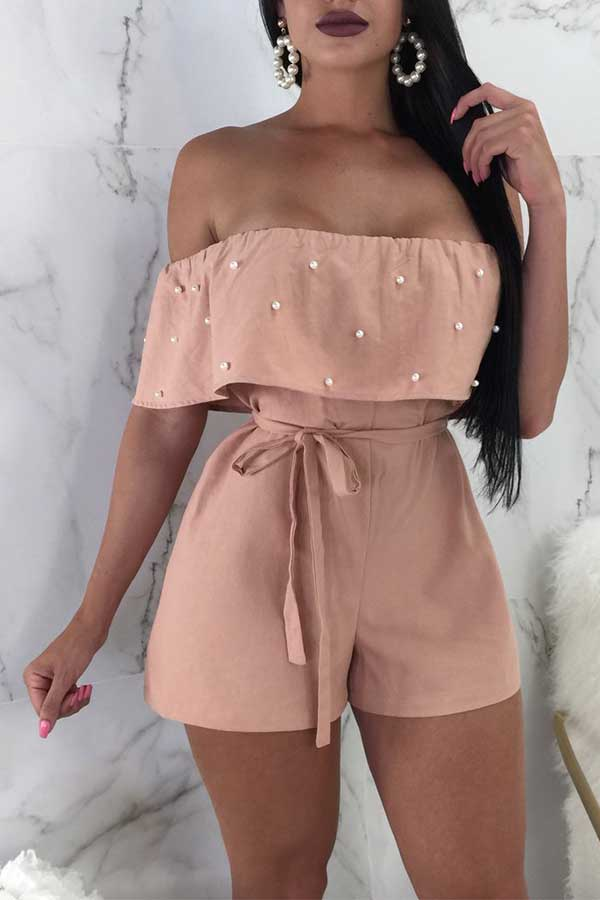 Lovely Nifty Bateau Neck Nailed Pearl Flounce Pink Chiffon One-piece Rompers