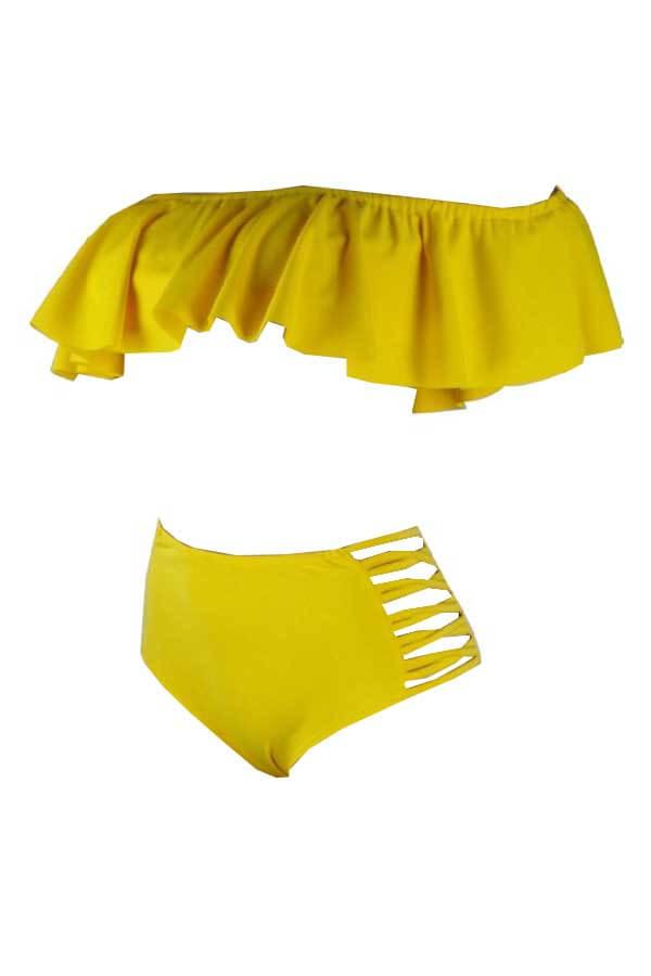LovelyPretty Bateau Neck Flounce Yellow Polyester Two-piece Swimwears