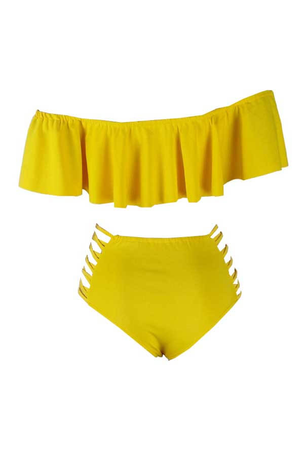 Lovely Pretty Bateau Neck Flounce Yellow  Two-piece Swimwear