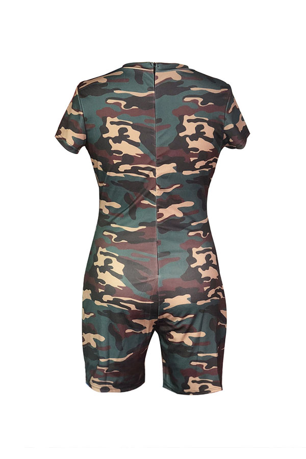 LovelyTrendy Round Neck Letters+Camouflage Printed Army Green Polyester One-piece Short Jumpsuits