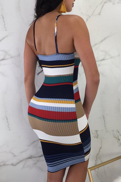 LovelyPolyester Fashion U neck Spaghetti Strap Sleeveless Sheath Knee Length Dresses
