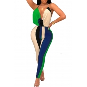 Lovely Chic V Neck Backless Striped Green Polyester One-piece Jumpsuits