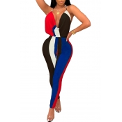 Lovely Chic V Neck Backless Striped Black Polyester One-piece Jumpsuits