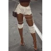 Moda Encantadora Mediados De Cintura Elástica Agujeros Rotos Mezclas De Algodón Blanco Harlan Pantalones