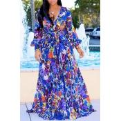 Lovely Bohemian V Neck Long Sleeves Floral Printed Royalblue Chiffon Floor Length Dress