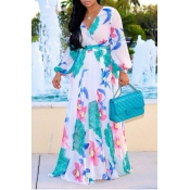 dba3dfdc927 Lovely Bohemian V Neck Long Sleeves Floral Printed White Chiffon Floor  Length Dress