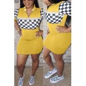 Lovely Leisure Grid Splicing Yellow Cotton Blend Sheath Mini Dress