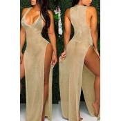 Lovely Sexy Deep V Neck Sleeveless See-Through High Split Gold Ployester Cover-Ups