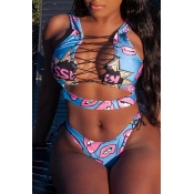 Lovely Fashion Lace-up Lip Printed Blue Cotton Blends Two-piece Swimwears