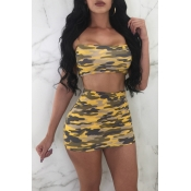 Lovely Sexy Bateau Neck Camouflage Printed Yellow