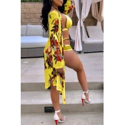 Lovely Sexy Hollow-out Floral Printed Yellow Polyester Two-piece Swimwears(With Cover-up)
