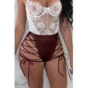 Lovely Chic High Elastic Waist Lace-up Wine Red PU