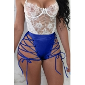 Lovely Chic High Elastic Waist Lace-up Blue PU Sho