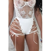 Lovely Chic High Elastic Waist Lace-up White PU Sh