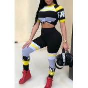 Lovely Trendy Round Neck Striped+Letters Printed Yellow Polyester Two-piece Pants Set