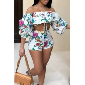 LovelyBohemian Bateau Neck Floral Printed Flounce White Polyester Two-piece Shorts Set
