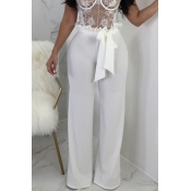 Lovely Trendy Mid Waist White Cotton Blends Zipped