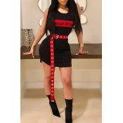 Lovely Casual Round Neck Letters Printed Black Twilled Satin Mini Dress(Without Belt)