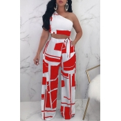 Lovely Chic Show A Shoulder Geometric Printed Red Qmilch Two-piece Pants Set