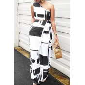 Lovely Chic Show A Shoulder Geometric Printed Blac