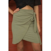 Lovely Trendy Hight Waist Lace-up Army Green Blend