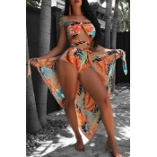 Lovely Fashion Bandage Printing Orange Polyester Two-piece Swimwears(With Cover-Ups)