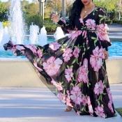 Прекрасное Богемное Платье С V-образным Вырезом И Длинными Рукавами С Цветочным Принтом Черное Шифоновое Платье До Пола