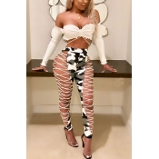 LovelyFashion High Elastic Waist Lace-up Hollow-out White Leather Pants