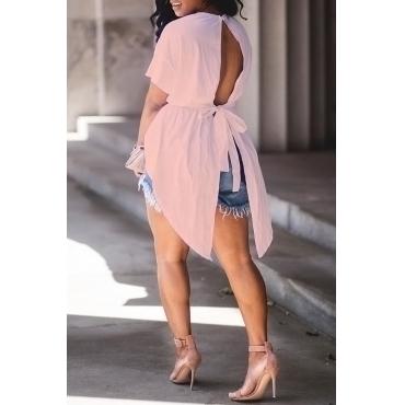 Lovely Trendy Round Neck Irregular Design Drawstring Pink Cotton Shirts