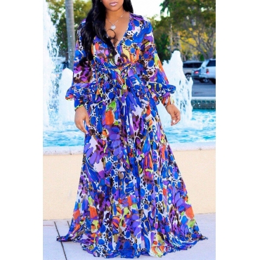 Lovely Bohemian V Neck Long Sleeves Floral Printed Royalblue Chiffon Floor Length Dress