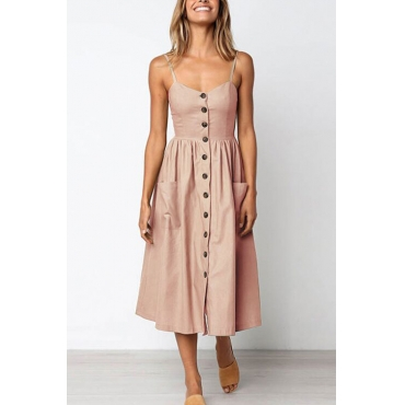Lovely Fashion Spaghetti Strap Sleeveless Single Breasted Light Pink Cotton Blend Mid Calf Dress