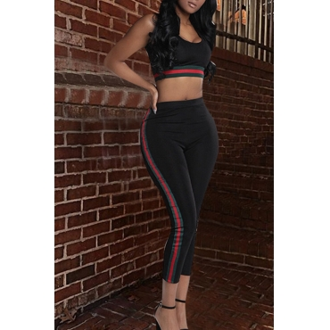 Lovely Casual U Neck Striped Black Blending Two-piece Pants Set