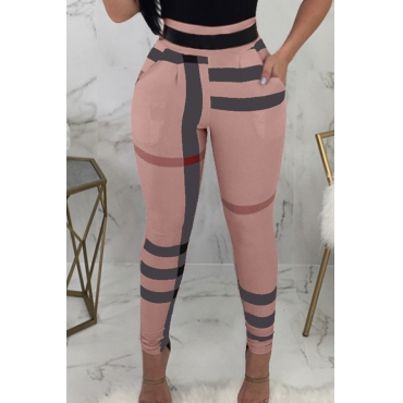 Lovely Fashion High Elastic Waist Irregular Striped Printed Pink Polyester Pants(Without Belt)