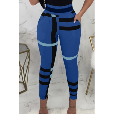 Lovely Fashion High Elastic Waist Irregular Striped Printed Blue Polyester Pants(Without Belt)