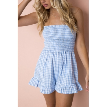Lovely Stylish Bateau Neck Grid Printed Baby Blue Cotton Blends One-piece Jumpsuits