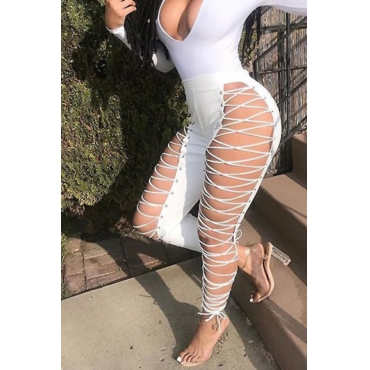 Lovely Fashion High Elastic Waist Lace-up Hollow-out White Leather Pants