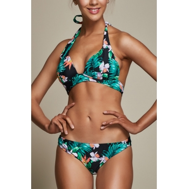 Lovely Leisure Lace-up Leaf Printed Green Spandex Two-piece Swimwears