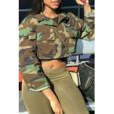 LovelyTrendy Turndown Collar Long Sleeves Single Breasted Camouflage Cotton Blends Short Coat