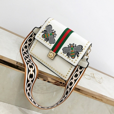 Lovely Fashion Embroidered Zipper White PU Crossbody Bag
