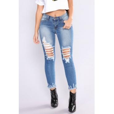 Lovely Chic Mid Waist Broken Holes Blue Denim Zipped Jeans
