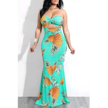 LovelyBohemian Dew Shoulder Pineapple Printed Blue Milk Fiber Floor Length Dress