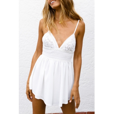 Lovely Sexy Deep V Neck Hollow-out White Chiffon One-piece Jumpsuits