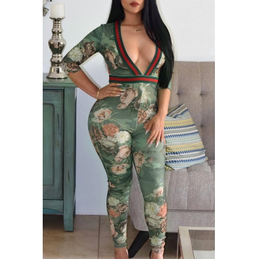 LovelyStylish V Neck Floral Printed Green Cotton Blends One-piece Jumpsuits