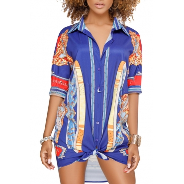 Lovely Chic Turndown Collar Printing Blue Healthy Fabric Mini Dress