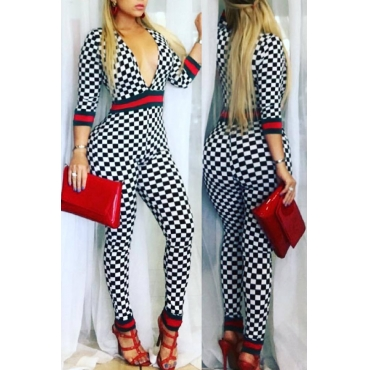 Lovely Fashion V Neck Plaid Printed White Cotton Blends One-piece Jumpsuits