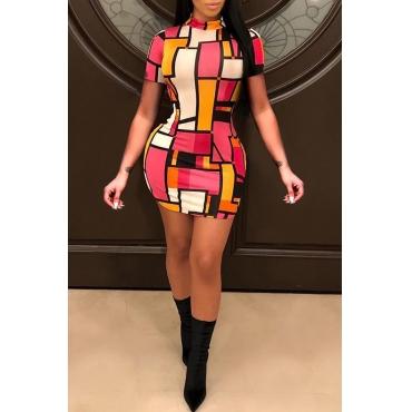 Lovely Trendy Mandarin Collar Geometric Printed Red Healthy Fabric Mini Dress